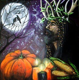 Préparer Samhain (halloween ) : Il s'agit d'une bougie blanche ointe avec de l'huile de patchouli. Dites «Que la lumière de cette bougie vous souhaite la bienvenue, Âmes célestes, venez en paix en cette nuit de Samonios». Placez la bougie à l'intérieur d'une lanterne. Samhain est aussi l'occasion de prendre des bonnes résolutions. Écrivez-les sur un parchemin et brûlez-le à une bougie noire votive placée dans le chaudron sur l'autel (à noter qu....