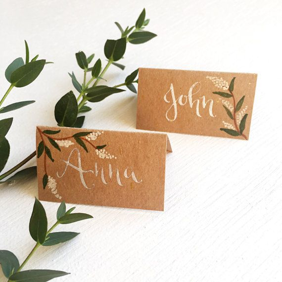 Custom hand written calligraphy wedding place cards // Rustic kraft style name cards // Custom wedding place names