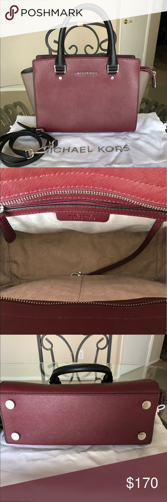 Sale! Mk medium Selma Medium color block Color: merlot, cinder, black  Saffiano leather with silver hardware  Some wear on the hardware  Includes detachable crossbody strap  Authentic  No trades! Michael Kors Bags Satchels