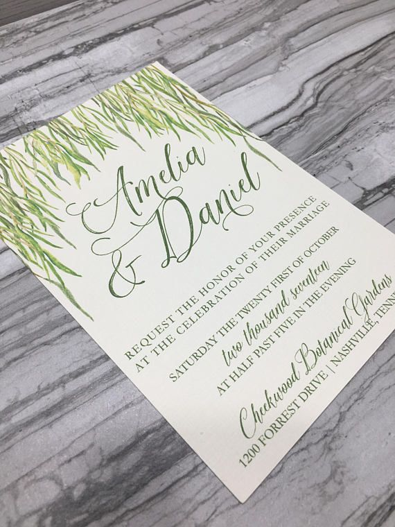 Printable Greenery Willow Branch Wedding Invitation Rustic