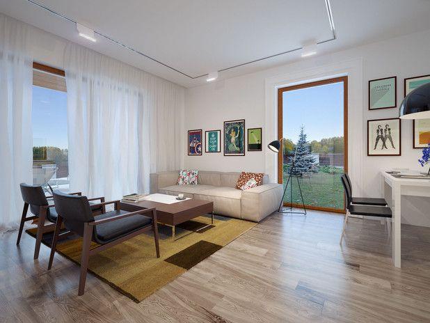Salon posiada duże okna, które zapewnią optymalną ilość światła dziennego.