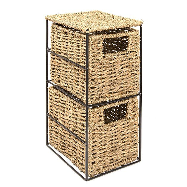 Woodluv 2 Drawer Seagrass Tower Storage Unit -Ideal for Bathroom,Office,Home(E01-111)