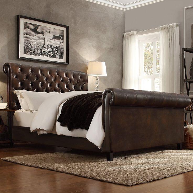 Homelegance Dartford Upholstered Faux Leather Sleigh Bed | from hayneedle.com