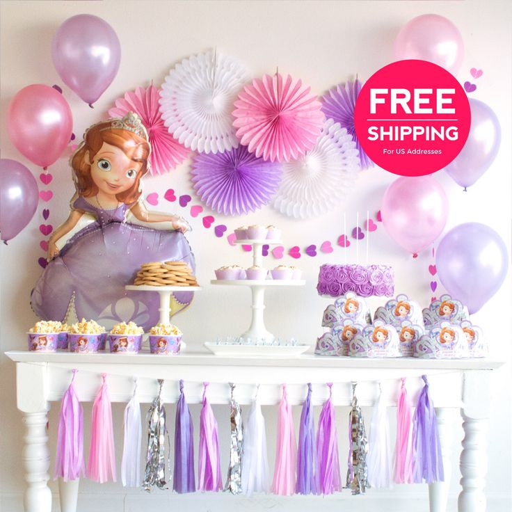 Sofia the First Party Supplies and Decorations. Princess Sofia birthday party ideas package. Purple fans, favor bags, cake candles, & more. by BASHKITS on Etsy https://www.etsy.com/au/listing/495242633/sofia-the-first-party-supplies-and