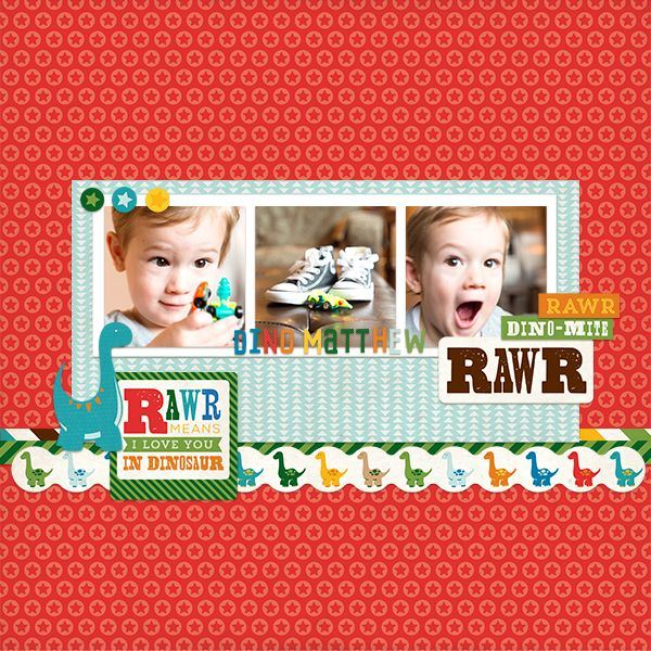 Digital scrapbook layout by Tammy Circeo featuring the Dino Friends collection by Echo Park Paper, available at Snap Click Supply here: http://www.snapclicksupply.com/dino-friends-full-collection/ #digitalscrapbooking #snapclicksupply