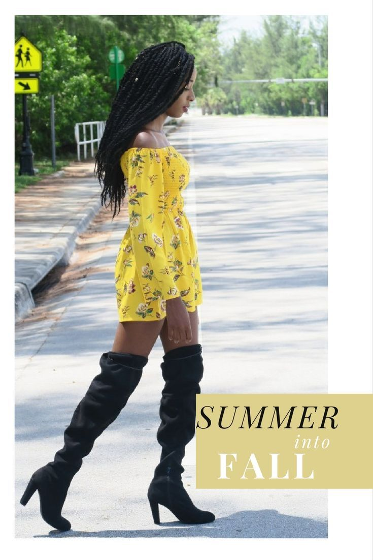 This is a simple casual transitional summer to fall outfit. A bright floral yellow target romper paired with a pair of black knee high boots from love culture. See how you can easily transition you summer wardrobe to fall.