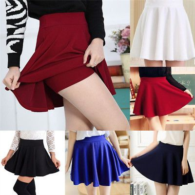 743d0e55c629 Women Fashion Skirts Mini Skirt Ladies Spring Summer High Waist Pleated  Skirts P