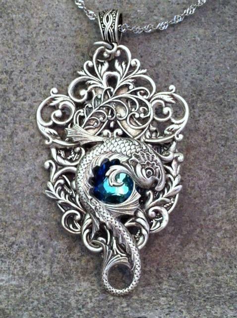 Gothic Fantasy Necklace - Mythology Jewelry - Blue Koi Fish Statement Necklace- Rococo Jewelry - Dragon Pendant - Art Nouveau Jewelry