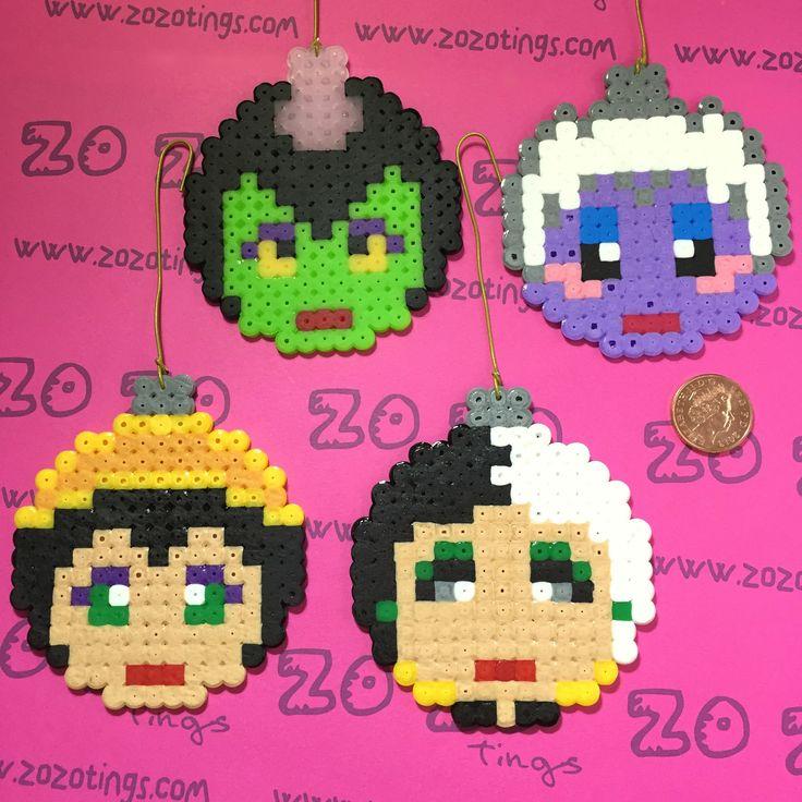 Disney Villains Christmas Pixel Baubles Perler Bead