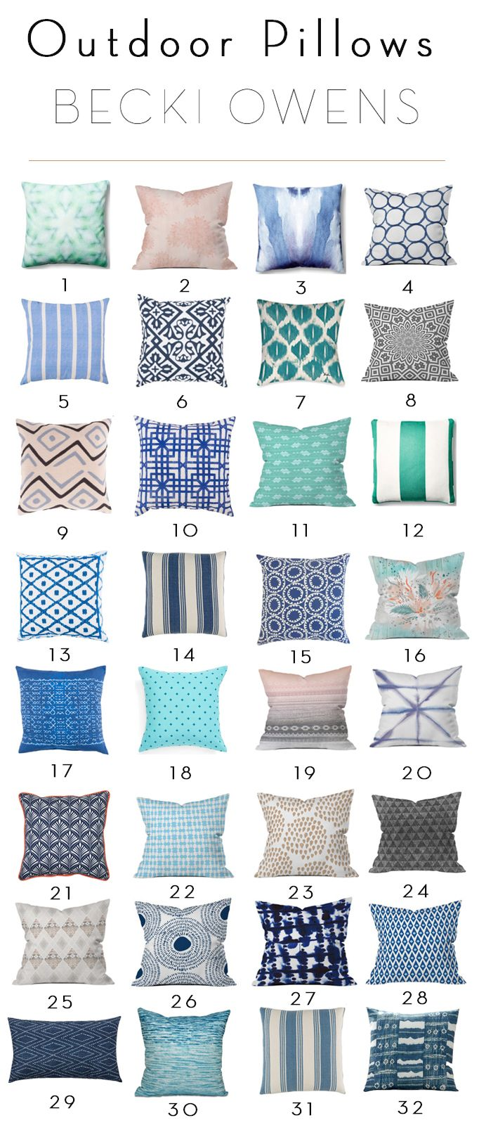It's the time of year to spruce up your outdoor spaces with some fun updates. Today, I've found 32 outdoor pillows that are pretty and affordable. Check out these 32 outdoor pillows for under $100.