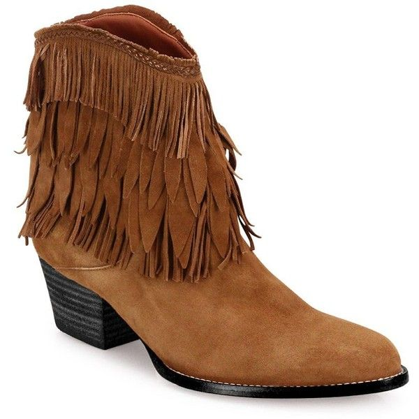 Aquazzura Pocahontas Suede Cowboy Boots (1.285 BRL) ❤ liked on Polyvore featuring shoes, boots, apparel & accessories, cognac, fringe cowboy boots, suede boots, fringe cowgirl boots, suede western boots and slip on shoes