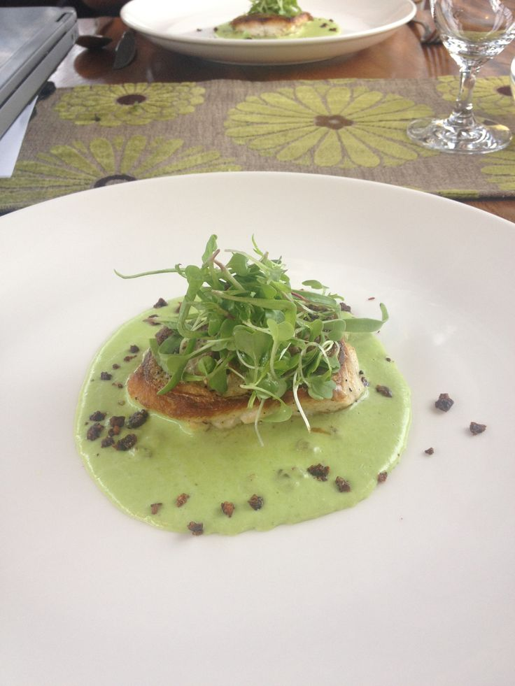 Purée pea with fresh trout