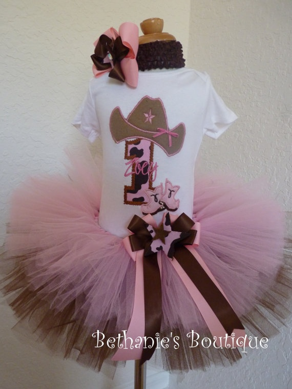Birthday Cowgirl tutu set in brown and pink Boots by TooTuTuCute, $50.95