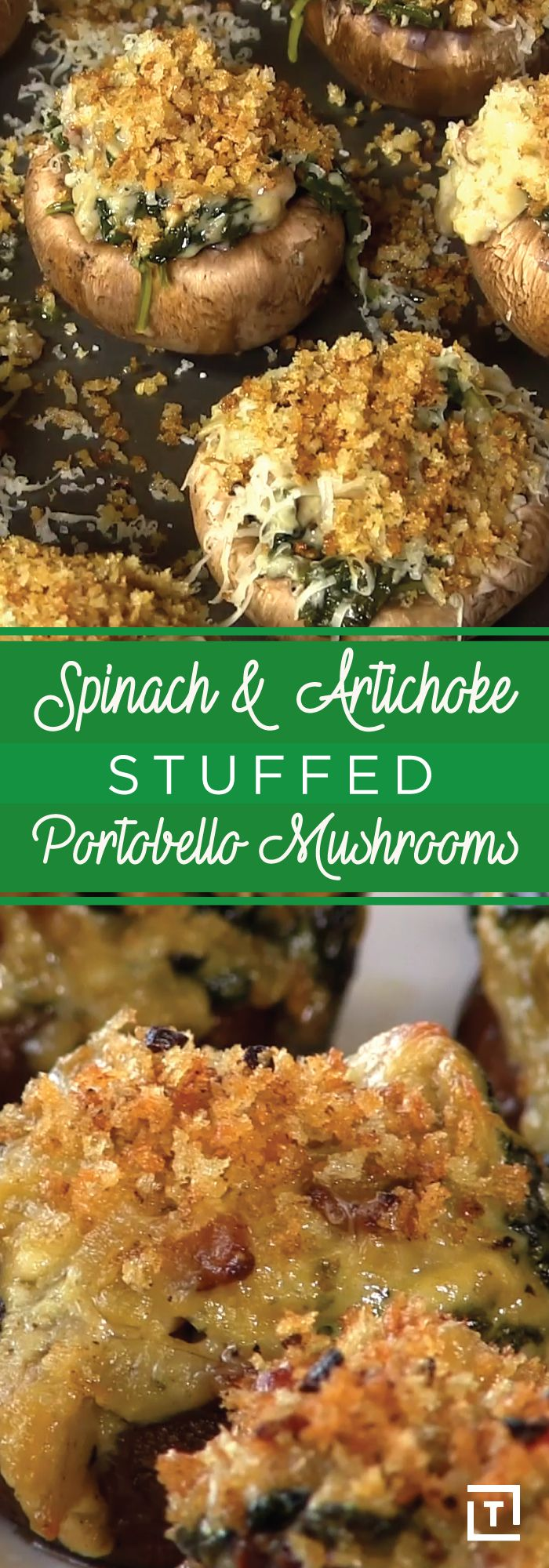 At Thrillist, we firmly believe in the importance of eating your vegetables -- it's just that we prefer to throw some butter, mascarpone, and a whole lot of cheese into the mix too. Which is why this spinach and artichoke stuffed portobello mushrooms are right up our alley -- you get your fix of healthy produce like spinach, artichokes, and mushrooms, but you don't have to forego heavenly, sharp cheddar and Parmesan, garlic-obsessed breadcrumbs, or creamy mascarpone.