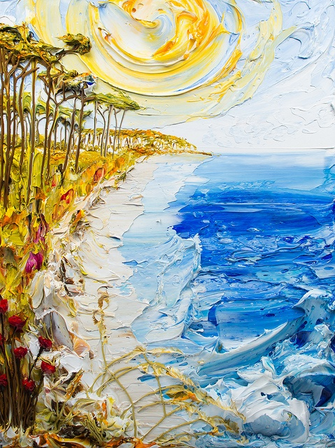 Sculpting with paint American artist Justin Gaffrey...palette knife painting ideas