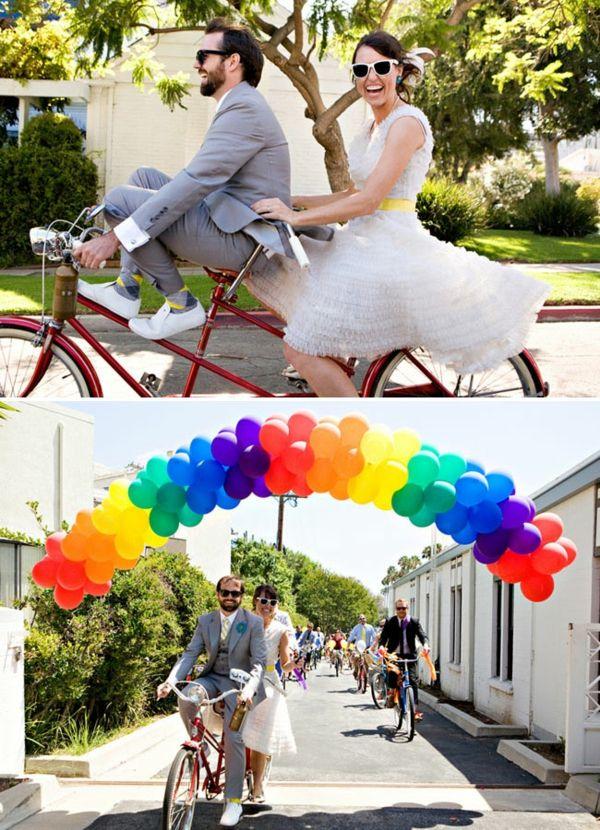 DIY Hochzeiten dekoideen fahrrad ballon