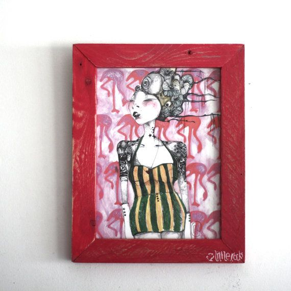 Alice illustration framed art print  wooden frame by littlerocksPK  http://littlerocksdesigns.com