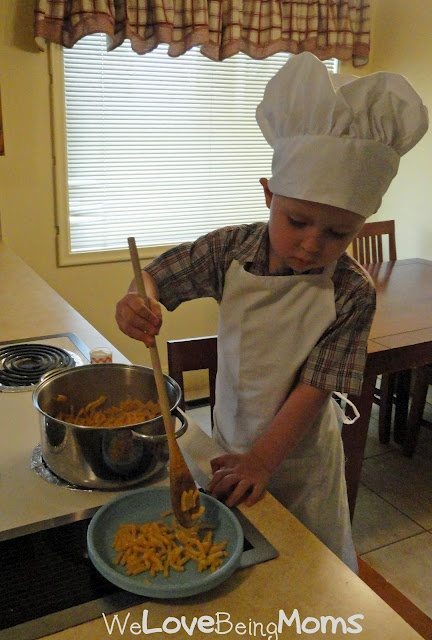 Make your child a chef hat and apron.  All you need is 1 twin flat sheet...5 bucks at wal-mart.  This link has the tutorial.    (you have to scroll way down for the tutorial, but there are some really great things as your scrolling. go back and check it all out.)