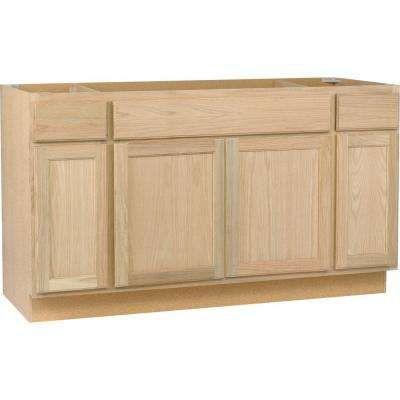 In sink base cabinet in unfinished oak for Oak kitchen base units