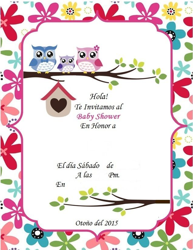 Invitacion Baby Shower Buhos