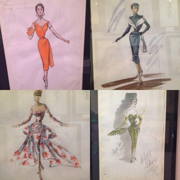 Edith Head fashion illustration originals at Newbridge Silver, Kildare, Ireland