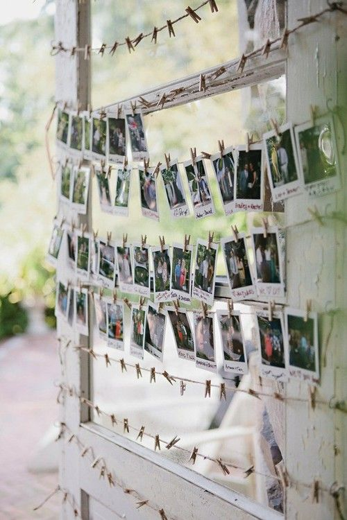 underthecarolinamoon: Love this as a wedding guest book. Take a polaroid... on the white part, write a little note with a colored sharpie
