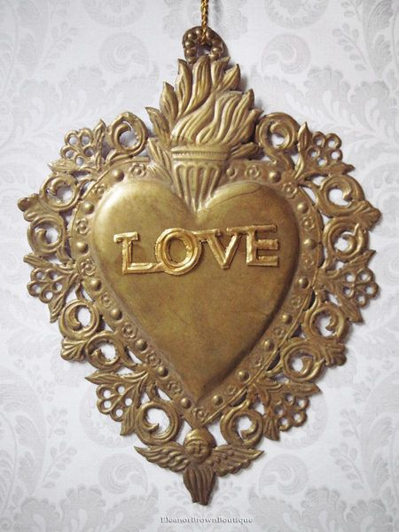 Gold 'Love' Flaming Heart Ex-Voto Stamping, 8 Inches
