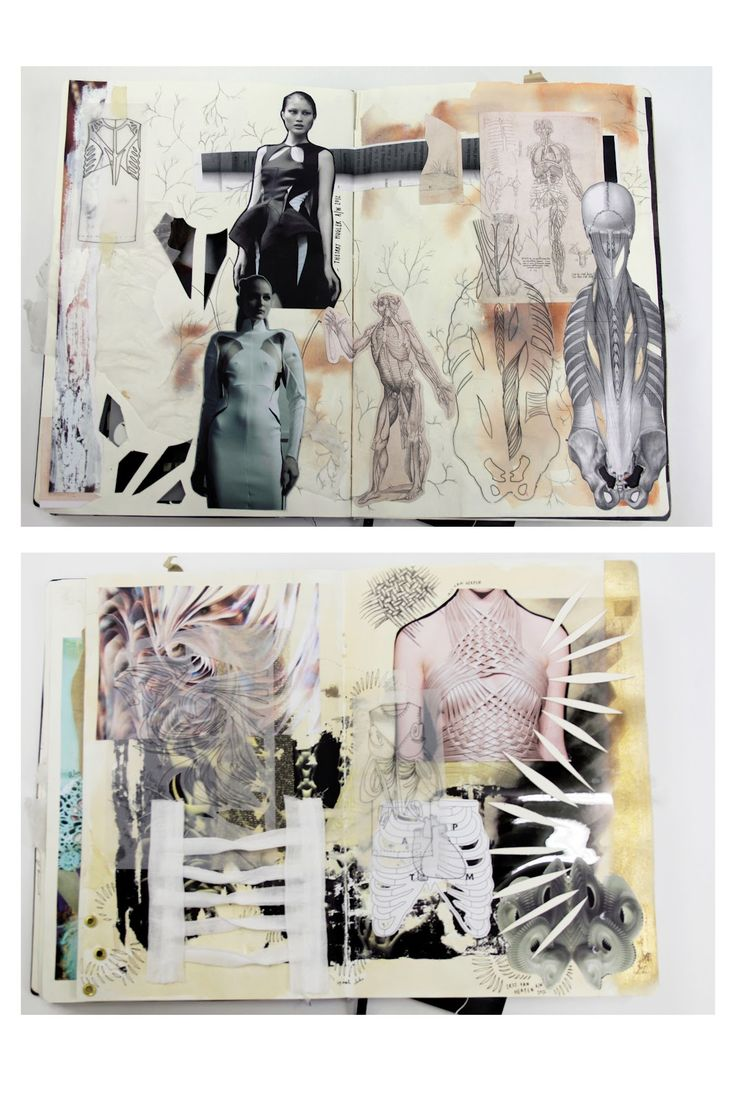 Fashion Sketchbook research, fashion drawings & design development exploring skeletal structures