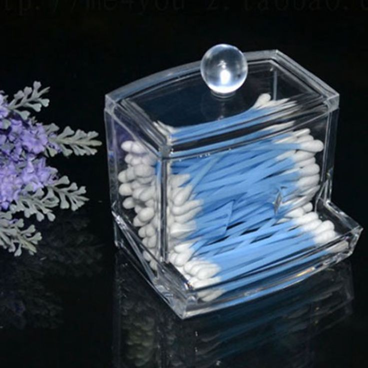 Storage Box Clear Acrylic Q-tip Holder Box Cotton Swabs Stick Storage Box Cosmetic Makeup Case #47335