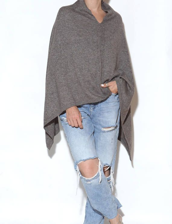 Brown cashmere poncho cashmere poncho cashmere cape knitted