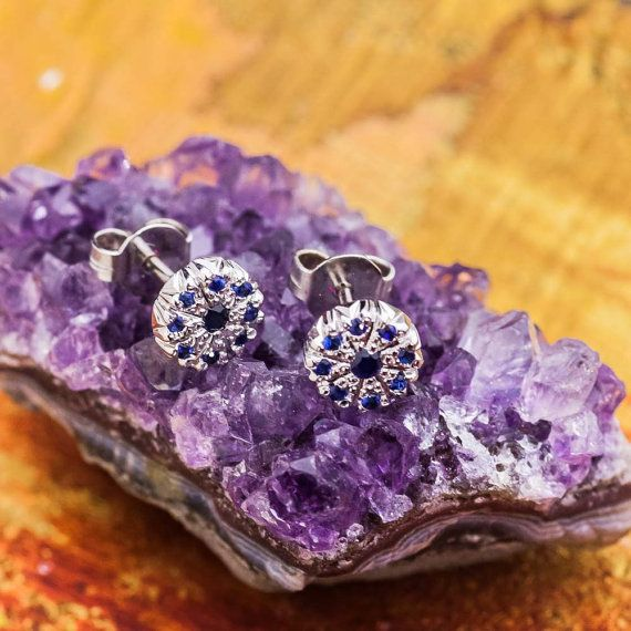EveryDay White Gold Sapphire Stud 14K White Gold by ZEHAVAJEWELRY