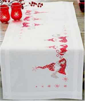 VERVACO is internationally renowned as a leading manufacturer of high quality needlework kits.Christmas Gnomes is an adorable Table runner. This kit contains a 100% cotton, hemmed, inwoven border, table runner; 100% cotton DMC embroidery floss; needle; and instructions. Finished size is 40cmX100cm.