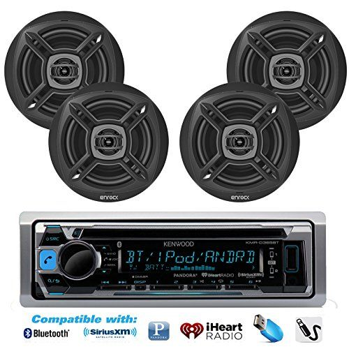 Special Offers - New KMR-D365BT Kenwood Marine Boat Outdoor Bluetooth CD MP3 Player USB iPod iPhone Input Pandora AM/FM Receiver 4 X EnrockMarine 6.5 Marine Waterproof Speakers Package  Marine Audio Kit (Black) - In stock & Free Shipping. You can save more money! Check It (June 18 2016 at 11:59PM)…