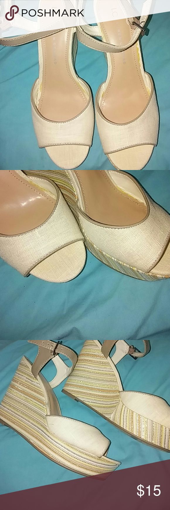 Lauren Conrad wedge sandals Multi color wedge with a platform. Sz8 LC Lauren Conrad sandal, like new condition. Never worn, no tag Shoes Wedges