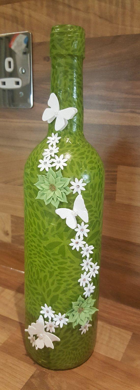 Decorative Wine Bottle by TheMintDeco on Etsy