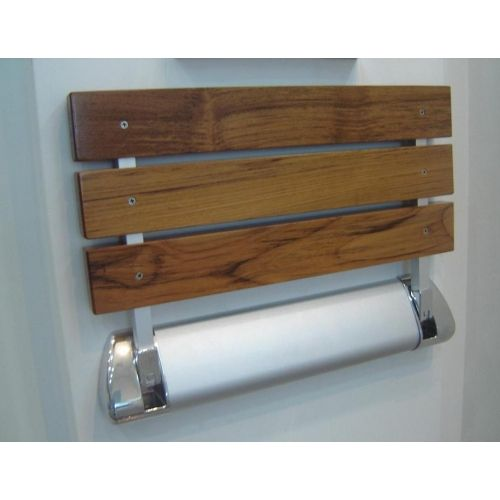 Teak Wood Shower Bath Mat   LD3 Folding Wall Mount Fold Up Teak Wood
