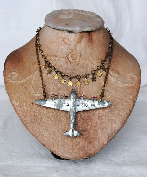 """RESERVED LIST for ALICE """"flying to the stars""""-- Star, Moon, vintage assemblage…"""