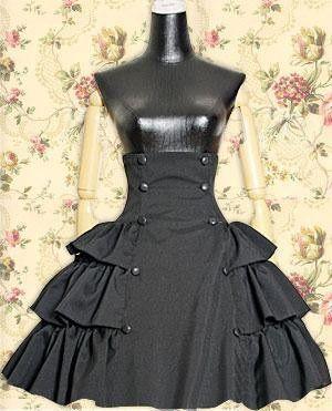 Black Buttons Ruffle Lolita Skirt
