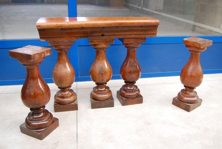 Parti di balaustra in mogano '800 colonne tornite patina+