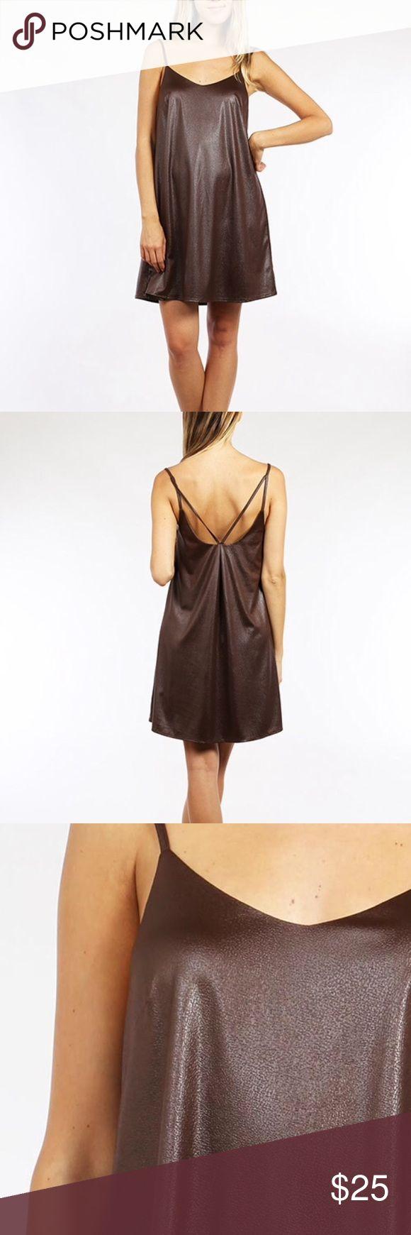 Cami dress Beautiful brown cami dress - fabric looks like leather. Dresses