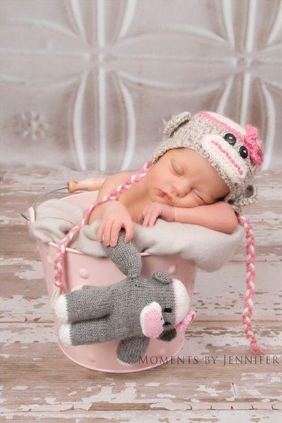 What a cute baby pic!  I love the sock monkey!