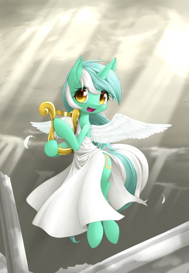 #1100552 - angel, artist:hashioaryut, clothes, column, cute, dress, lyrabetes, lyra heartstrings, safe, solo - Derpibooru - My Little Pony: Friendship is Magic Imageboard