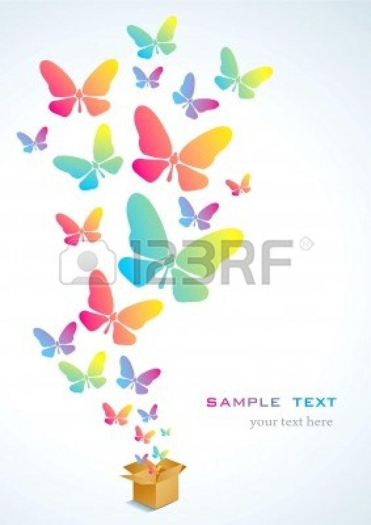 カラフルな蝶の飛行と開く段ボール箱 写真素材