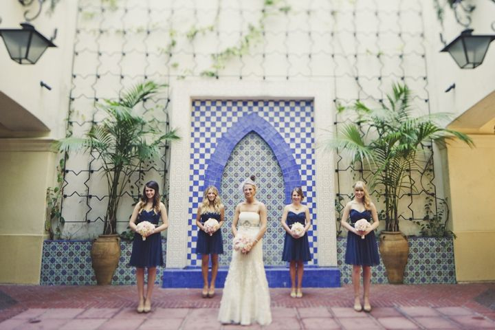 A Romantic Glam Navy, Pink and Gold Wedding