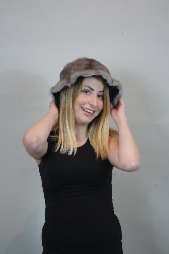 Luxury gift/Grey Mink  / Fur Hat Women's/wedding or by skffurs