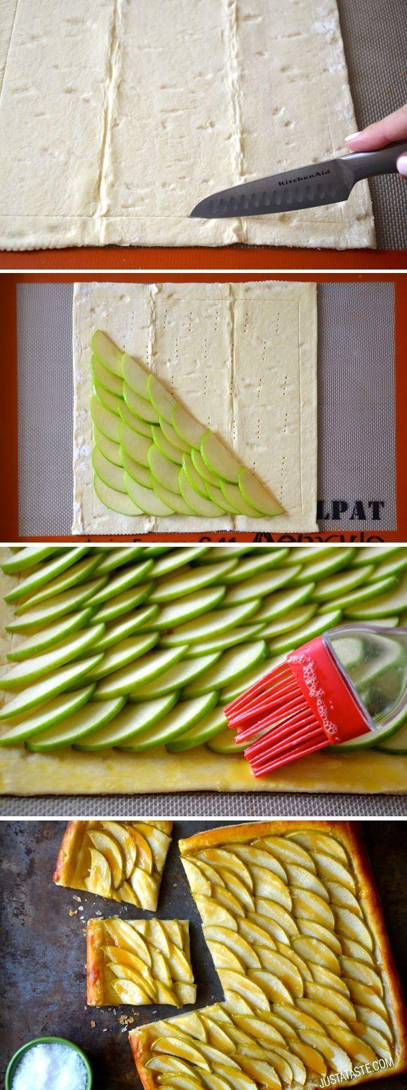Easy Salted Caramel Apple Tart by justataste #Tart #Apple #Salted_Caramel by Danielle 5026