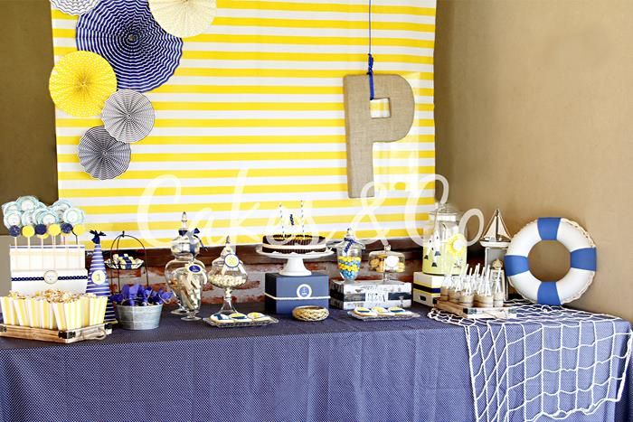Beach Party- burlap letter, the backdrop, the rope wrapped box/cake riser and trays