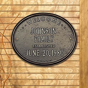 Nice idea for a wedding gift. Pick from 19 color combinations ~ Personalized Welcome House Plaque - Oval Metal Design - 1356D