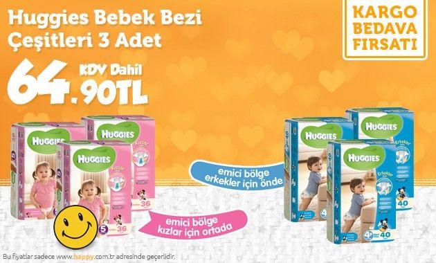 Bu fırsat kaçmaz; Huggies Bebek Bezleri 3'lü paketler inanılmaz fiyatlarla sizleri bekliyor. Sipariş için >> http://www.happy.com.tr/huggies