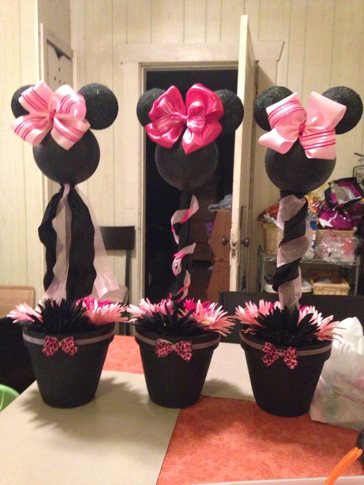 Minnie mouse pink cheetah baby shower centerpiece for my for Baby minnie mouse decoration ideas